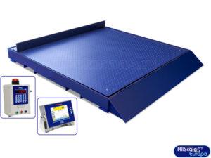 Vloerweegschaal 150x150 met opstaande rand in verplaatsbaar frame met schuine rand 1 zijde (b)